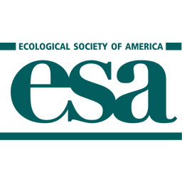 Logo for the ecological society of america. Teal green letters spell ESA.